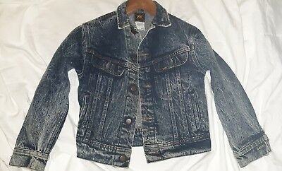 Vintage Lee Denim Jean Jacket Stone Washed 80's 90's Child Size 10 Made In USA