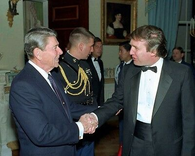 "Donald J Trump with President Ronald Reagan 1987 Reception 8""x 10"" Photo"