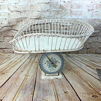 Vintage BABY SCALE METAL W/WICKER BASKET WEIGHS UP TO 30 LBS primitive