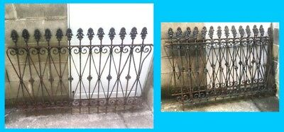 2 Antique Cast Iron Fence , Architectural Gate , Garden yard Décor , Pre 1920