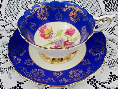 Royal Stafford Royal Blue Floral Spray Fancy Gold Tea Cup And Saucer
