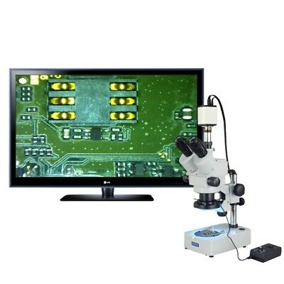 OMAX 3.5X-90X 1080p HDMI Camera Zoom Trinocular Stereo Microscope+144-LED Light