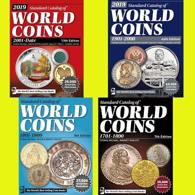 2019 KRAUSE 4pcs set Standard Catalogs of World Coins 1701-2018 in PDF
