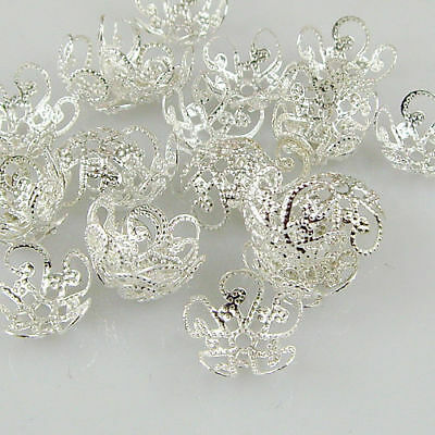 200 PCS 10mm 8mm Quality Silver Gold Tone Flower Bead Caps Findings Free P&P