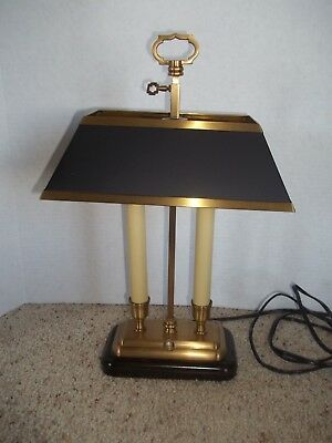 """Vintage Brass desk lamp double candlestick rectangle shade table 15.75"""""""