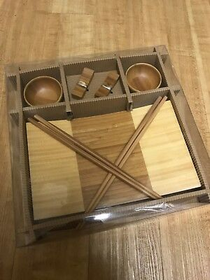 Wooden Sushi Platter with Two Sets of Bowls and Chopsticks