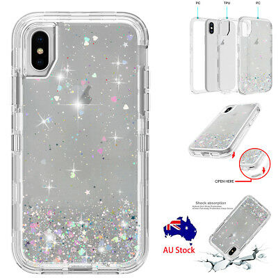 iPhone XS Max XR XS X Bling Glitter 360° Full Body Shockproof Clear Case Cover
