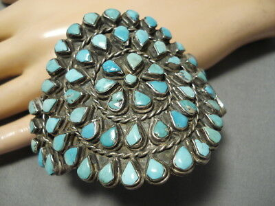 Museum Quality!! Vintage Navajo Turquoise Sterling Silver Bracelet Cuff Old