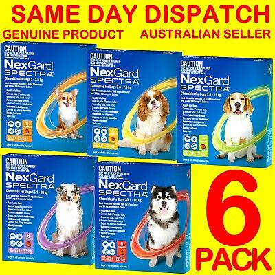 NexGard Spectra 6 PACK Flea, Ticks, Heartworm and Intestinal Wormer For Dogs