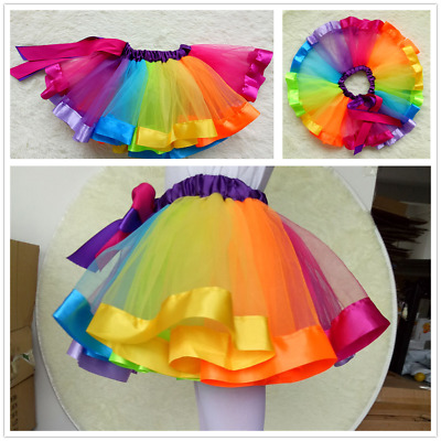 768a8bbf58 Baby Kids Girl Rainbow Tutu Party Ballet Dress Pettiskirt Costume Colorful  Skirt