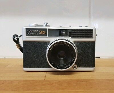 Fujica Compact 35mm Film Camera with hand strap and f2.8 lens