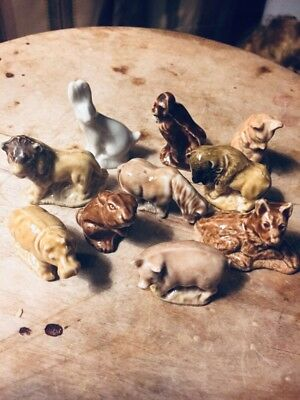 Wade Whimsies, 10 Pieces, Mixed Animals, a Special Chubby Pig, & Field Mouse