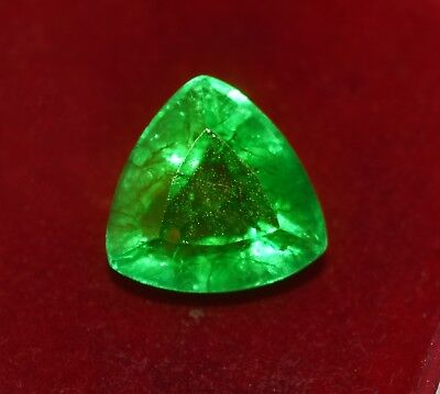 GGL Certified 9.70 Cts Natural Green Emerald, Trillion Shape Zambian Gem