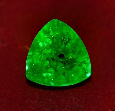 7.60 Cts GGL Certified Natural Green Emerald, Trillion Shape Zambian Gem