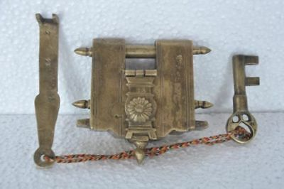 Old Brass Solid Heavy Big 2 Key Tricky / Puzzle Padlock , Rich Patina