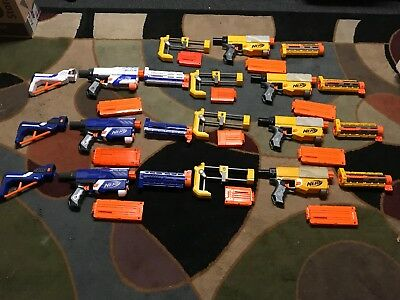 Huge NERF Mixed Lot of 32 Pieces Including 7 Guns & 25 Accessories