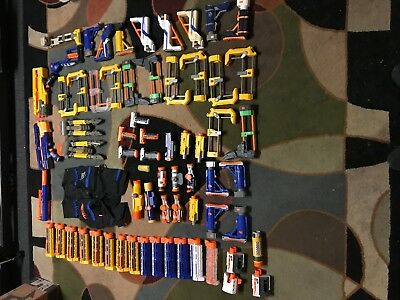 Huge Lot Of 67 Nerf Gun Accessories Barrels, Butt Stocks, Sites, and Hand Grips