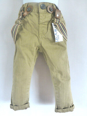 BOYS MINOTI HERRINGBONE TROUSERS DETACH BRACES & ADJUSTABLE WAIST BROWN 18-24mth