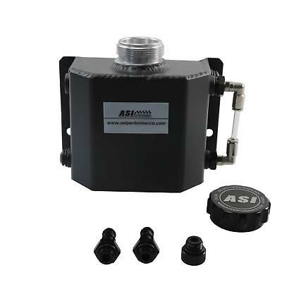 Universal 1L Aluminum Coolant Radiator Overflow Recovery Water Tank Black AW