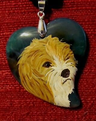 Petit Basset Griffon Vendeen hand-painted on square inlay shell pendant/bead/nec