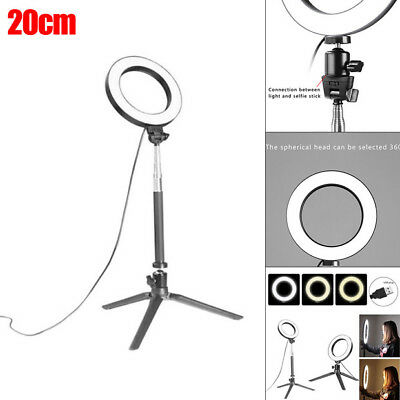 20cm 3LED Modes Dimmable Studio Camera Ring Light Photo Phone Video 40W 5500K