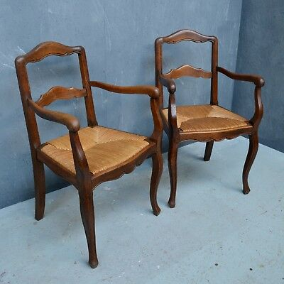 Pair of Antique French Country Oak Carver Chairs / Armchairs with Rush Seat