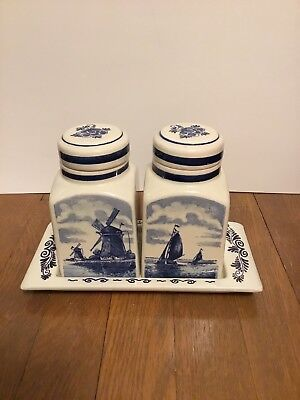 Vintage Blauw Delft Blue & White Lidded Jar Set with Matching Tray - Holland