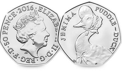 Beatrix Potter Jemima Puddleduck 50p Coin 2016 Fifty Pence