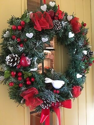 Christmas Door Wreath Luxury Quality Cones Berries Hearts Red 45cm