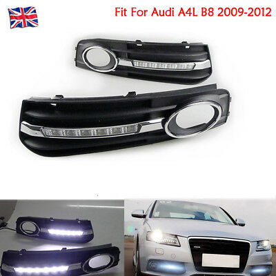 For Audi A4L B8 09-12 LED Fog Light Insert Grill Cover Daytime Running Lamp Pair