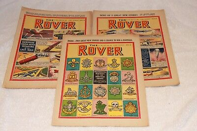 "3  "" The  Rover  Comics ""...1952...full  Strong  Spines...nice + Clean...lot  8"