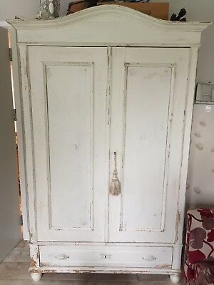 Shabby Chic French Armoire Wardrobe Cupboard Painted Cream Distressed