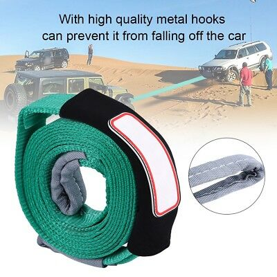 Car Towing Rope Strap Tow Cable with Hooks Emergency Heavy Duty 5m/16.4ft 5Tons