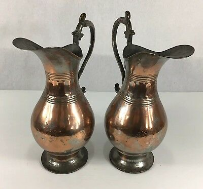 Pair Of Large Antique Middle Eastern Tinned Copper Water Jugs 33cm In Height