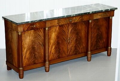 Large French Empire Flamed Mahogany Sideboard Huge Green Marble Top Bronze Mount