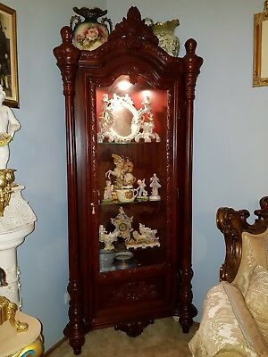 2 Antique style corner display cabinets