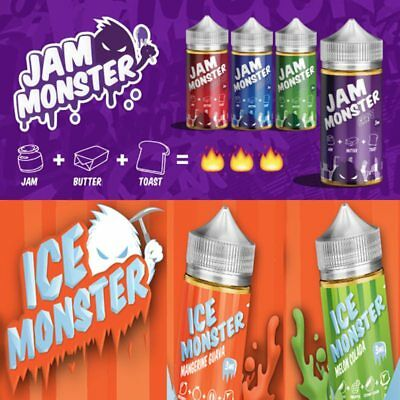 US Seller Jam Monster..Ice Monster..Juice***75/25  .. 100ml 0 3 6mg Vape1 juice