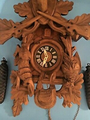 German Black Forest Carved 8 Day Cuckoo Clock Runs Great!