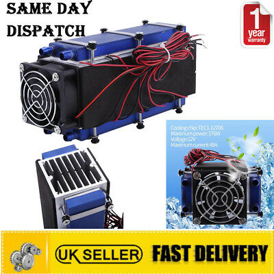 12V 8-Chip Thermoelectric Peltier Cooler Refrigeration Air Cooling System +Fan