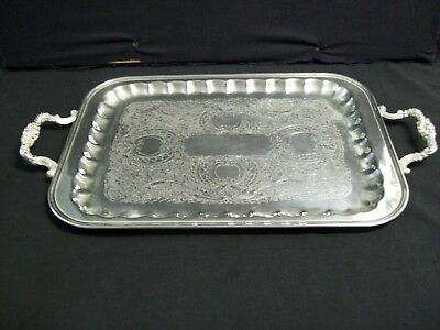 "Vintage Armor Silver Co. EPC 2 Handle Silver Plated Tray Ornate Design 21"" x 12"""