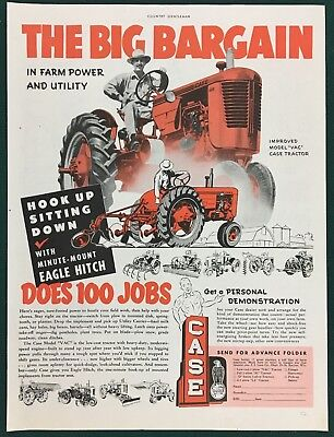 """1952 CASE MODEL VAC TRACTOR  Large ad 10"""" x 13-1/2"""