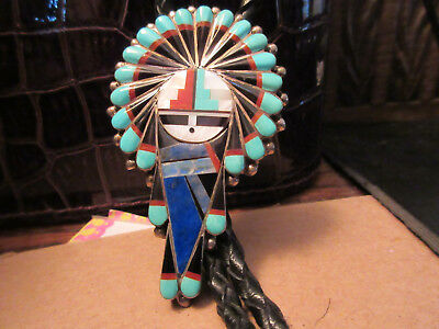 "Vintage signed Zuni Sterling Silver turquoise Sun Face bolo tiie ""Gchachu"""