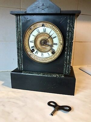 Large Antique ANSONIA CLOCK CO Slate & Marble MANTEL CLOCK - USA - W22