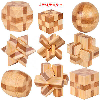 Wooden Puzzle Kong Ming Lock IQ Brain Teaser Cube Educational Game Toy