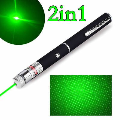 10Miles 532nm Mini AAA Green Laser Pointer Pen 2in1 Visible Beam Light+Star Cap