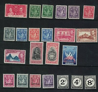 St Lucia 1937/51 Small collection GV1 S G see description Cat £40+ Mint Hinged