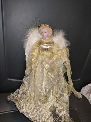 Tree Topper Or Table Top Ornament:  Angel With Golden Robes
