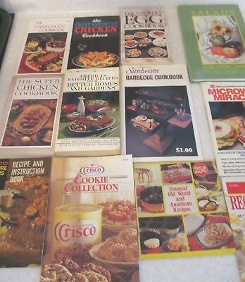 Lot of 12 Vintage Cookbooks and 5 Old Appliance Manuals