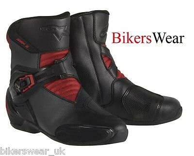 Alpinestars SMX-3 SMX 3  Black / Red Microfibre Motorcycle Ankle Boots -last few