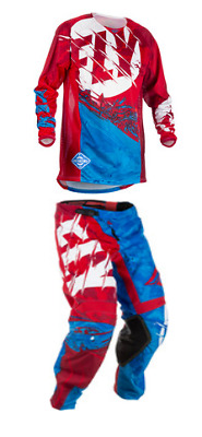 Fly Racing Kinetic Outlaw Blue / Red Pant and Jersey Set 32 / Medium